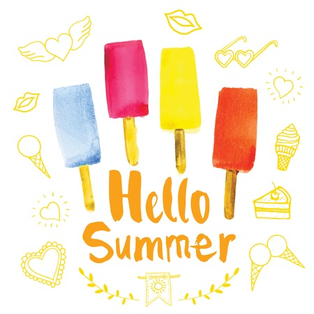 Poster with the phrase hello summer. Watercolor doodling with colorful ice cream.