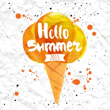 Poster with the phrase hello summer. Watercolor doodling with yellow ice cream and splashes of pink and orange paint against the backdrop of crumpled paper.