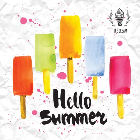 refreshments: Poster with the phrase hello summer. Watercolor doodling with colorful ice cream and splashes of pink paint against the backdrop of crumpled paper. Illustration