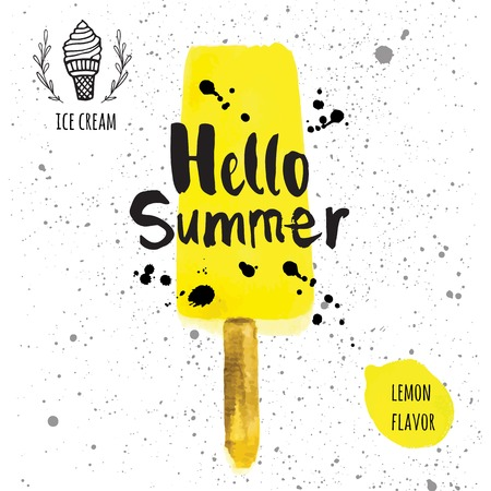 ice: Poster with the phrase hello summer. Watercolor doodling with yellow ice cream and splashes of black paint. Lemon flavor. Illustration