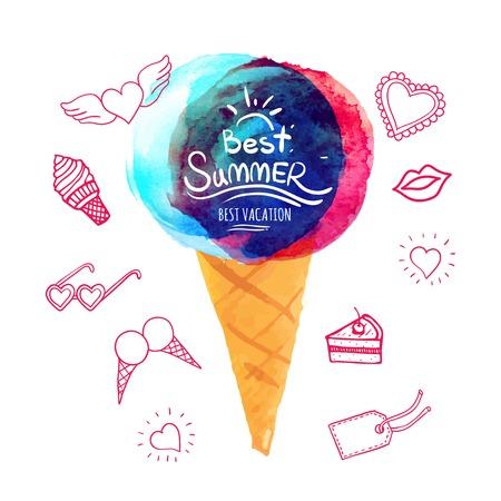doodling: Best summer vacation poster. Pink doodling. Summer symbols. Illustration