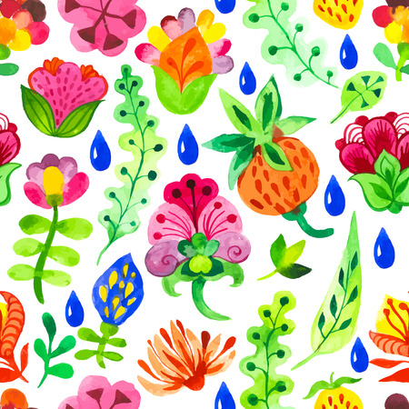 doodling: Seamless floral  and flower background. Watercolor elements for decoration and create your design. Watercolor doodling. Fabulous pattern on white background.