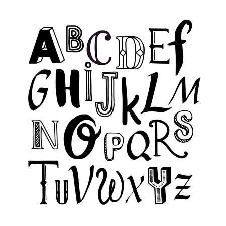 Letters Of The Alphabet Written With A Brush On White Background
