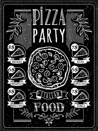 black board: Pizza Poster on a blackboard. A delicious slice of pizza with sausage. Illustration
