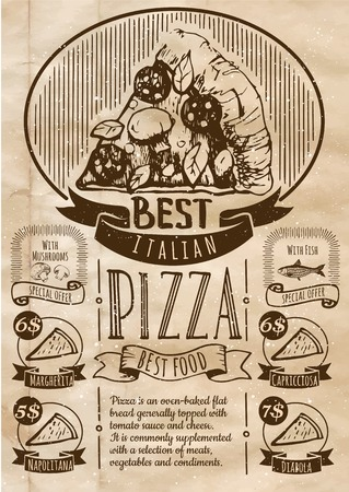 old poster: Pizza Poster on old paper. A delicious slice of pizza with sausage.