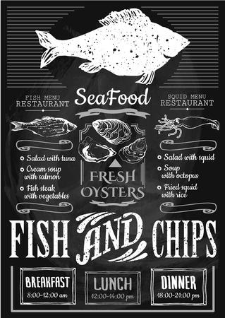 peces: Menú para el restaurante de pescado o en el bar con una foto de los peces en una pizarra. Boceto dibujado simple en formato vectorial.
