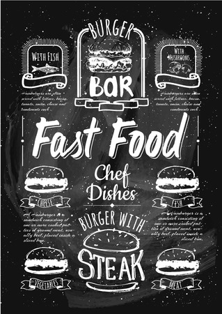 restaurante italiano: Hamburguesería establecido. Boceto dibujado simple en formato vectorial. Vectores