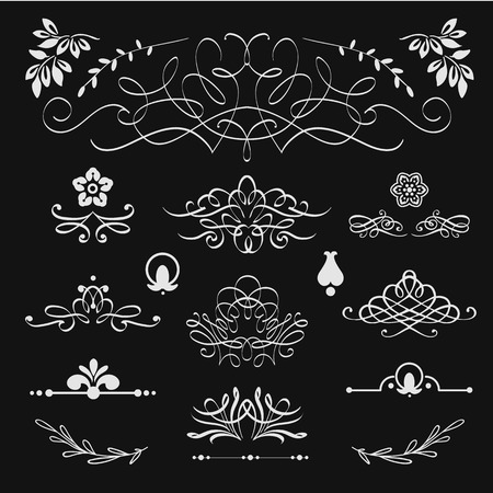 antique books: Design elements and decorations. Black and white. Border set.