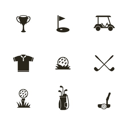 Icon of a golf ball and other attributes of the game. Black and white.