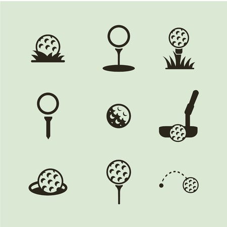 golf stick: Icon of a golf ball. Black and white.