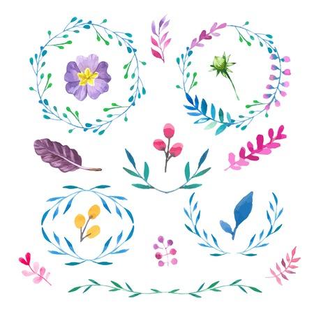 Bloemmotieven. Aquarel vintage bloemen trendy set van kransen en lauweren. Reeks ronde frames. Stock Illustratie