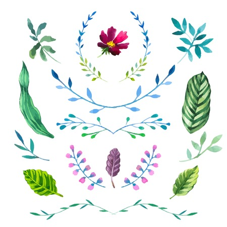 drawing trees: Floral motifs. Watercolor vintage floral trendy set of wreaths and laurels. Set of round frames. Illustration