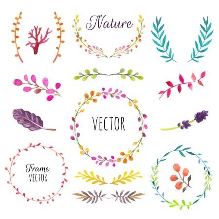 Floral motifs. Watercolor vintage floral trendy set of wreaths and laurels. Set of round frames. Ilustracja