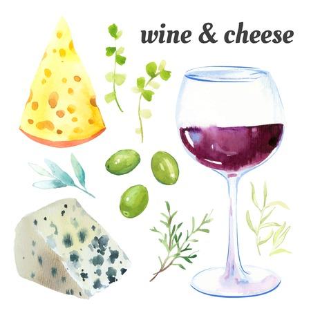 Aquarel illustratie van een schildertechniek. Set van glazen rode wijn, kaas en exquise Franse kruiden. Stock Illustratie