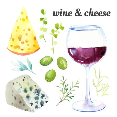 white wine: Watercolor illustration of a painting technique. Set of glasses of red wine, cheese and exquisite French herbs.