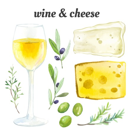 cheese: Watercolor illustration of a painting technique. Set of glasses of white wine, exquisite cheese and French herbs.