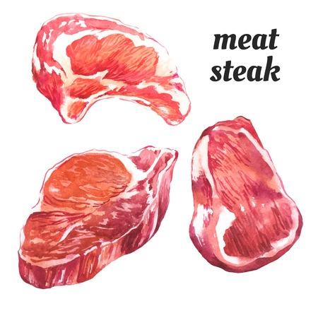 carne roja: Ilustración de la acuarela de una técnica de pintura. Conjunto de filetes de carne cruda.