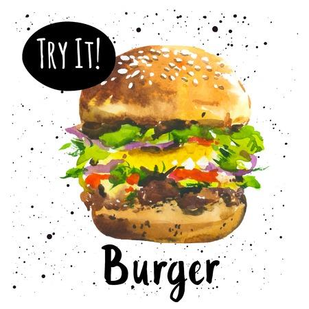 햄버거의 손으로 그린 스케치와 포스터. 패스트 푸드. 미국 스타일.