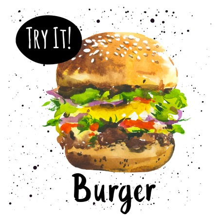 Poster mit handgezeichneten Skizze Burger. Fast Food. Amerikanischer Stil. Illustration