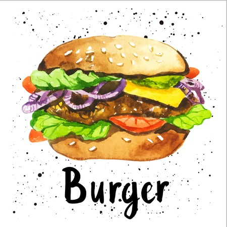 eating fast food: Poster with hand-drawn sketch of burger. Fast food. American style.