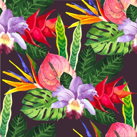 Beautiful seamless background with tropical flowers and plants on black. Composition with anthurium, orchid and monstera leaves. Illustration