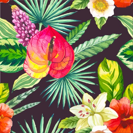 tropical flowers: Beautiful seamless background with tropical flowers and plants on black. Composition with palm leaves, with lily and anthurium. Illustration