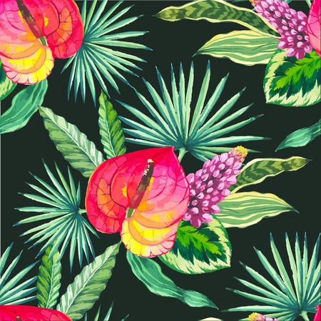 tropical flower: Beautiful seamless background with tropical flowers and plants on black. Composition with palm leaves and anthurium.