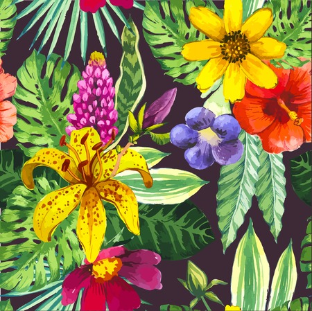 Beautiful seamless background with tropical flowers and plants on black. Composition yellow lily, chinese hibiscus and monstera leaves.