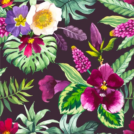 Beautiful seamless background with tropical flowers and plants on black. Composition with calla lily, orchid, and monstera leaves.