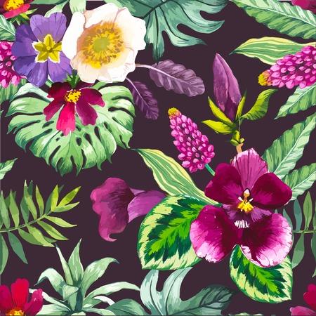 textil: De fondo sin fisuras hermosa con las flores tropicales y plantas en negro. Composición con el lirio de cala, orquídea, y las hojas del monstera.