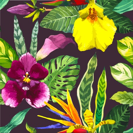 orchid: Beautiful seamless background with tropical flowers and plants on black. Composition with calla lily, orchid, and monstera leaves.