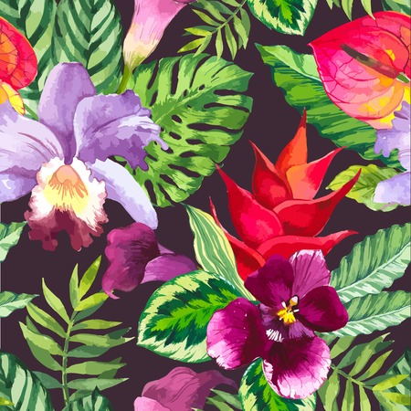 leaf pattern: Beautiful seamless background with tropical flowers and plants on black.Composition with calla lily, orchid, anthurium and monstera leaves.