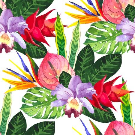 Mooie naadloze achtergrond met tropische bloemen en planten op wit. Compositie met anthurium, orchidee en monstera bladeren.