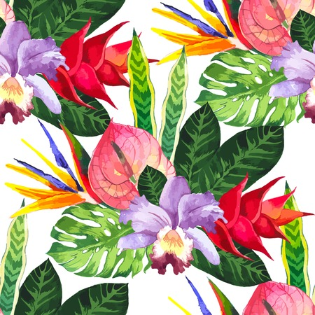 Beautiful seamless background with tropical flowers and plants on white. Composition with anthurium, orchid and monstera leaves. Illustration