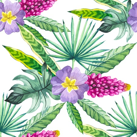 tropical flowers: Beautiful seamless background with tropical flowers and plants on white. Composition with palm leaves and violet flowers.