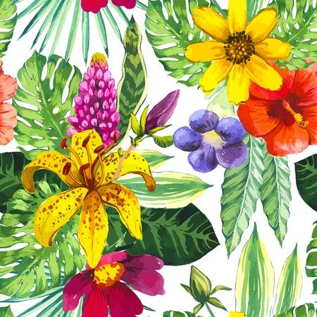 흰색에 열대 꽃과 식물과 함께 아름 다운 원활한 배경입니다. yelloe 백합, 중국어 히비스커스와 몬스 테라 잎으로 조성입니다. 일러스트
