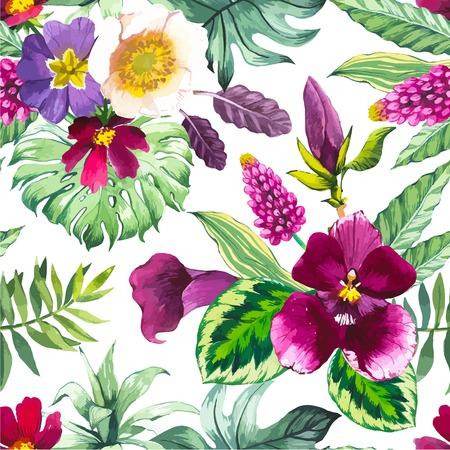 Mooie naadloze achtergrond met tropische bloemen en planten op wit. Compositie met calla lelie, orchidee, en monstera bladeren. Stock Illustratie
