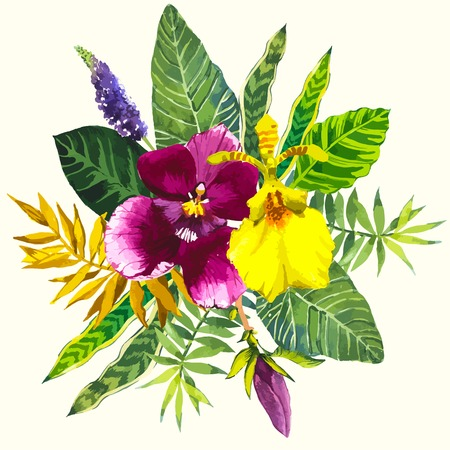 painted: Beautiful bouquet tropical flowers and plants on white background. Composition with yellow and violet orchid, leaves.