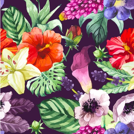 anemone: Beautiful seamless background with tropical flowers and plants on black. Composition with calla lily, chinese hibiscus, anemone and leaves.