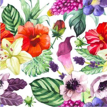 흰색에 열대 꽃과 식물과 함께 아름 다운 원활한 배경입니다. 칼라 백합, 중국어 히비스커스, 말미잘과 나뭇잎 조성입니다. 일러스트