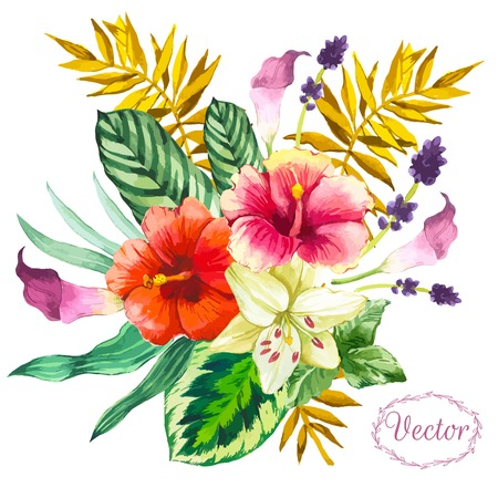 plant design: Beautiful bouquet tropical flowers and plants on white background. Composition with monstera and palm leaves, white lily chinese hibiscus. Illustration