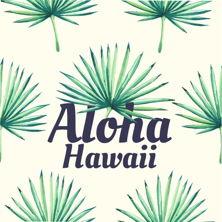 tropical plant: Beautiful seamless background with tropical plant on white. Seamless floral ornament with palm. Background for your design and decor. Aloha Hawaii.