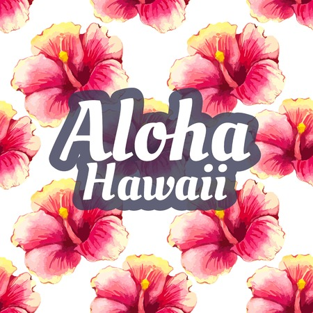 beautiful red hibiscus flower: Watercolor seamless background with tropical flowers on white. Floral ornament with wildflowers for your design and decor. Aloha Hawaii.