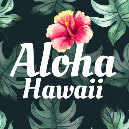 hawaiana: Fondo floral transparente. Acuarela Modelo verde con hojas de monstera. Pintura hecha a mano sobre un fondo blanco. Aloha Hawaii.