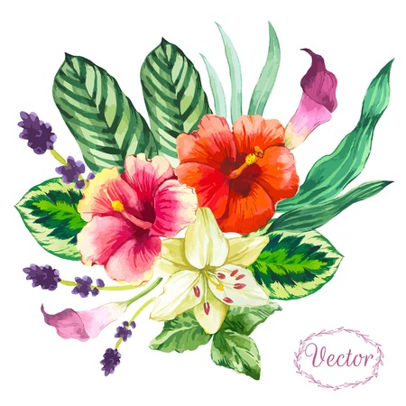 Beautiful bouquet tropical flowers and plants on white background. Composition with monstera and palm leaves, white lily chinese hibiscus. Illustration