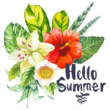 Hermoso ramo de flores y plantas tropicales sobre fondo blanco. Composición con monstera y hojas de palma, lirio blanco hibisco chino. Hola Verano. Ilustración de vector