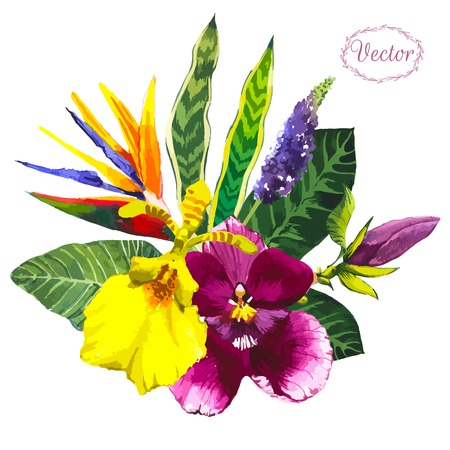 Beautiful bouquet tropical flowers and plants on white background. Composition with yellow and violet orchid, leaves.