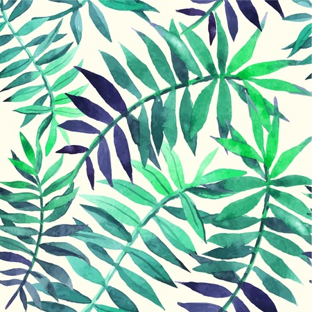 Seamless floral background. Watercolor green pattern with palm leaves. Handmade painting on a white background.  イラスト・ベクター素材
