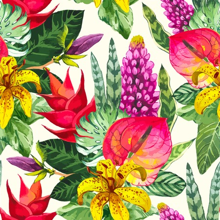 textile fabrics: Beautiful seamless background with tropical flowers and plants on white. Composition with yellow lily, anthurium and monstera leaves.