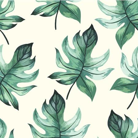 Seamless floral background. Acquerello modello verde con foglie. pittura a mano su uno sfondo bianco. Archivio Fotografico - 44308981